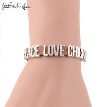 Little MingLou PEACE LOVE CHICKENS Bracelet letters Charm brown suede rope wrap men bracelets & bangles for Women jewelry