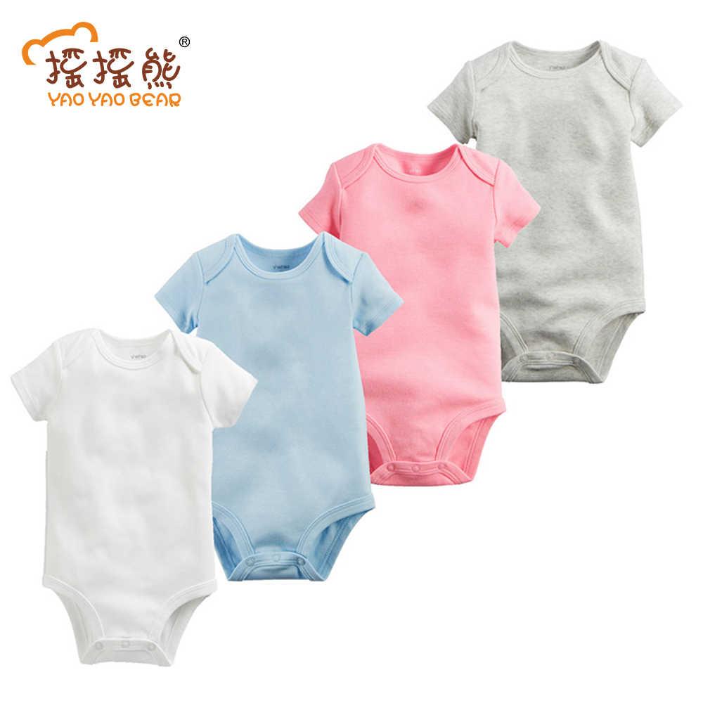Детские боди для новорожденных, 4 шт 100% хлопок младенческого возраста короткий рукав Костюмы подобные комбинезон с принтом для маленьких мальчиков и девочек боди пижамы Body2016