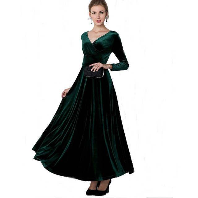 winter women plus size velvet dress long sleeve maxi dress evening