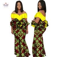 2018 Sonbahar kadınlar için Moda Tasarımı afrika elbiseler dashiki kadınlar elbise bazin riche slash boyun uzun elbise doğal 6xl WY2236