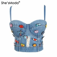 She SModa Cute Hole Cartoon Decoration Push Up Bustier Women S Bralette Cropped Top Vest Plus