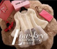 Las mujeres de Lujo de Piel de Visón Abrigo de Piel de Imitación de Costura Suave Imitar Overcaot Plus Tamaño Abrigos de Piel Para Mujer 2017 Nuevo Invierno E72