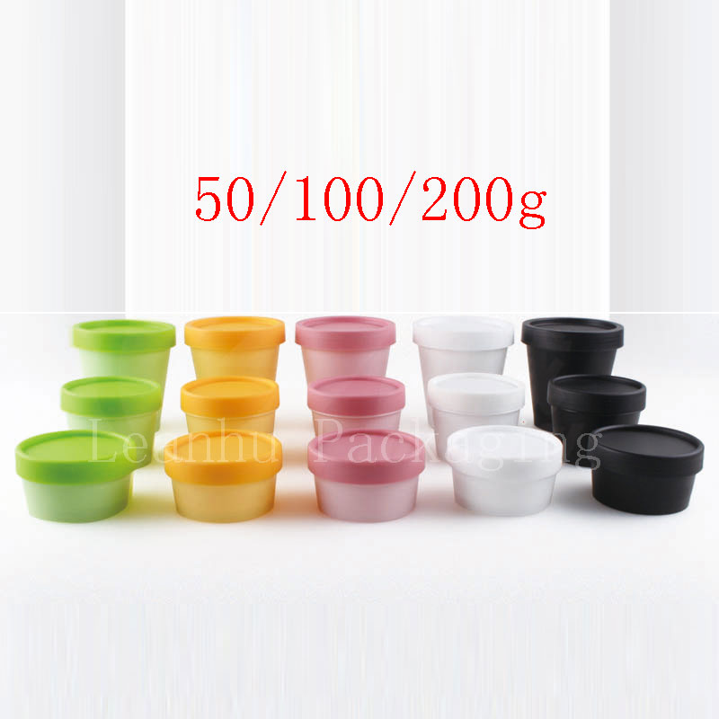50g 100g 200g Empty Cosmetic Containers Colored Cream Pot Mask Cream Cosmetics Bottle Jar With Screw