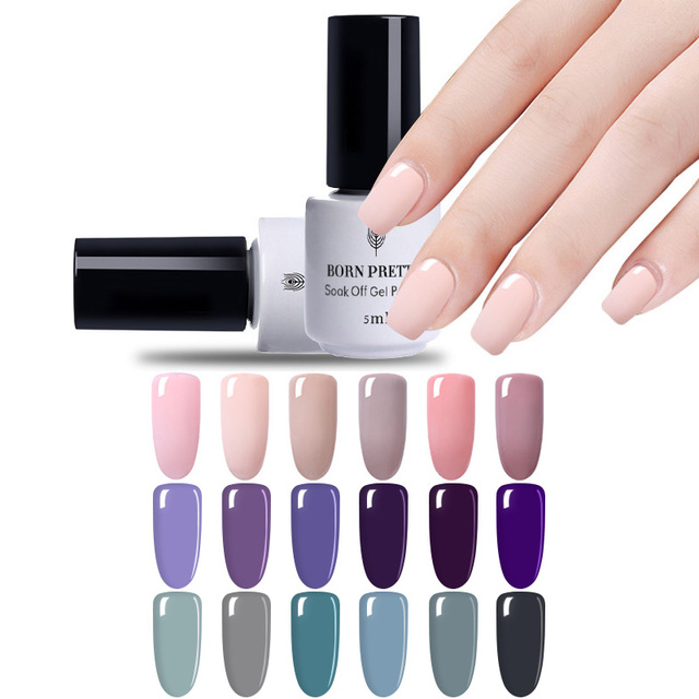 Born Pretty Nail Art Purple Nude Grey Diy Nail Paint Design Gel Uv