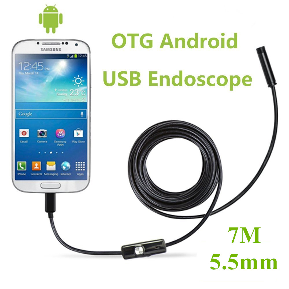 LESHP 5.5mm 7M Waterproof Endoscope for Android PC Inspection Borescope with 6 LED Focus Camera Lens USB Cable Endoscope eyoyo nts200 endoscope inspection camera with 3 5 inch lcd monitor 8 2mm diameter 2 meters tube borescope zoom rotate flip