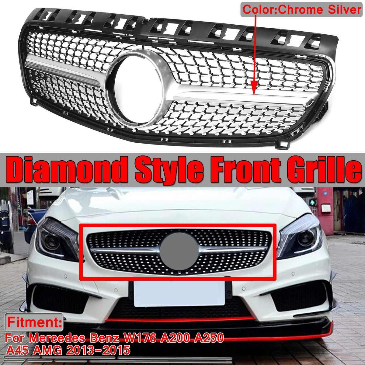 Malha Da Grade De diamante Estilo Frente Car Grille Grill Para Mercedes Benz Para W176 A200 A250 A45 Para AMG 2013 2014 2015 Grades De Corrida