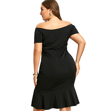 Plus Size 5XL Embroidery Front Slit Mermaid Dress Black Club Party Dress Robes