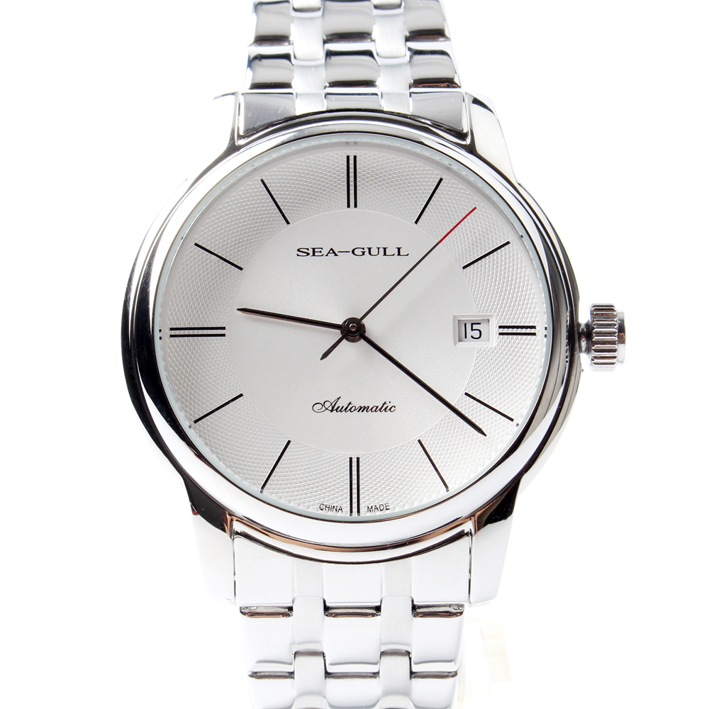 Seagull Guilloche PVD With Stainless Steel Self-wind 3 Hands Exhibition Back Automatic Men's Business Watch D816.405 seagull grande date flywheel self wind skeleton 3 hands automatic mechanical men s business watch 816 409