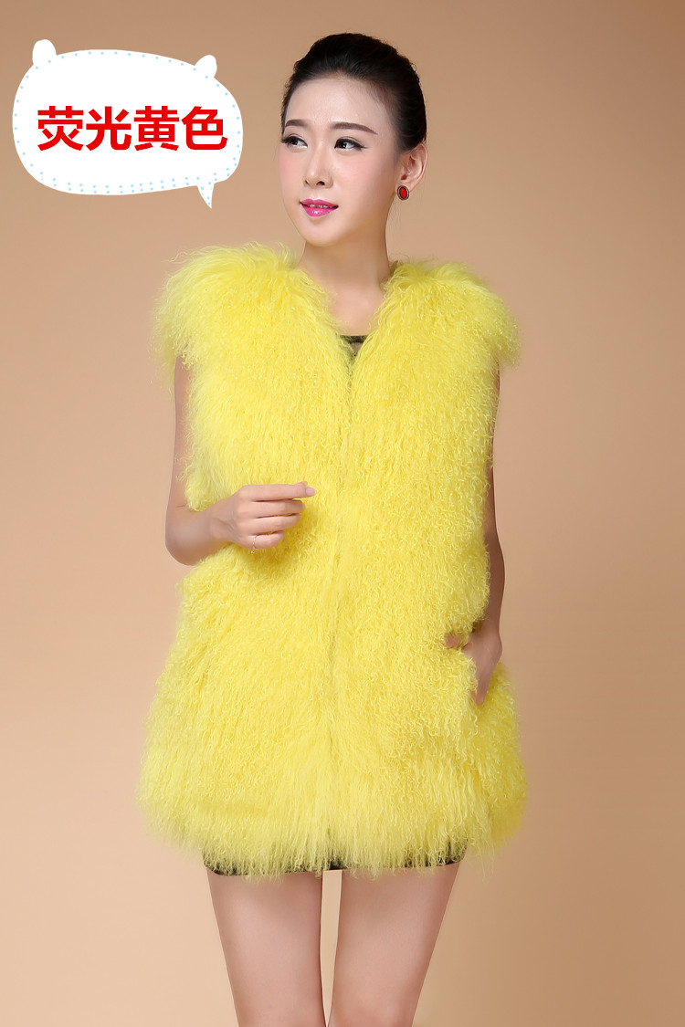 2018 New Fashion Leather Fur Wool Vest The Whole Beach In Autumn And Winter Long Vest Lamb Wool Coat