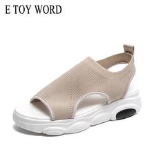 E TOY WORD Women Sandals Summer Comfort Casual Slip-On Breathable Mesh Ladies Shoes women summer flat sandals Sandalias Mujer недорго, оригинальная цена