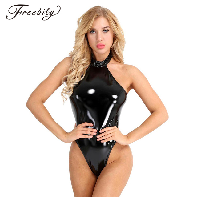 44dc6073191 Best Price Sexy Women Black One Piece Body Suit Wetlook Latex Catsuit High  Neck Halter Backless