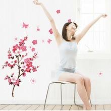 % wholesale beautiful sakura wall stickers living bedroom decorations 739. diy flowers pvc home decals mural arts poster