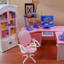1/6 doll accessories Office computer desk + bookcase Girl birthday gift plastic