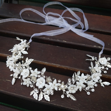 Delicate Silver Leaf Bridal Hair Vine Crown Handmade Porcelain Flower Headband uxury Wedding Headpiece Brides Hair Jewelry 2019
