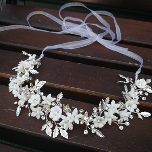Image 1 - Delicate Silver Leaf Bridal Hair Vine Crown Handmade Porcelain Flower Headband uxury Wedding Headpiece Brides Hair Jewelry 2019