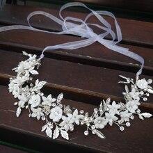 Zarte Silber Blatt Braut Haar Reben Crown Handgemachte Porzellan Blume Stirnband uxury Hochzeit Kopfschmuck Bräute Haar Schmuck 2019