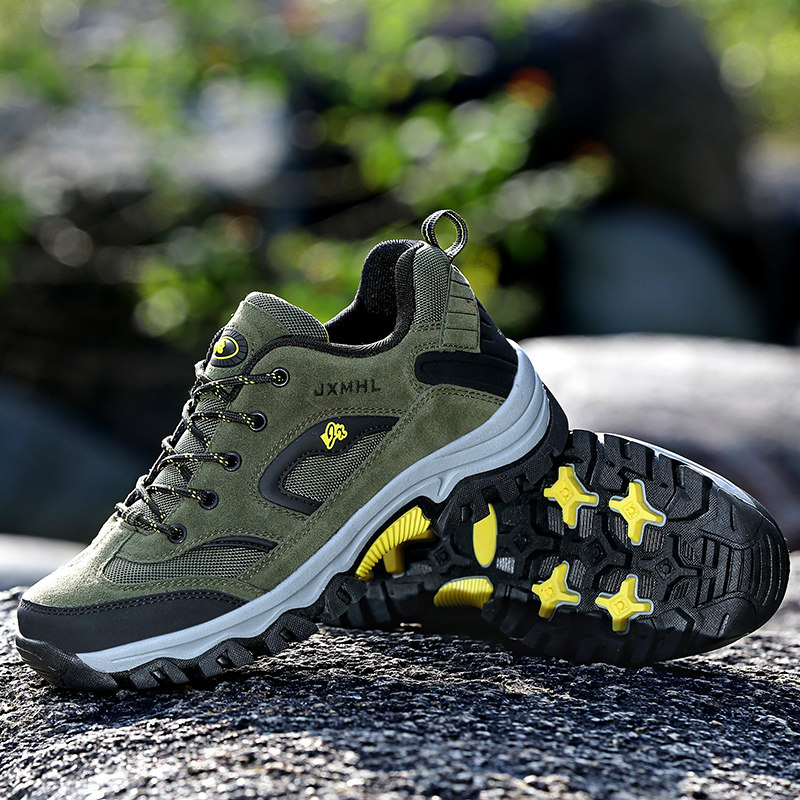CAMEL JINGE Men Hiking Boots Shoes Plus Size Outdoor Breathable Green Lace up Rubber Mountain Climbing Shoes Men zapatos botas in Hiking Shoes from Sports Entertainment