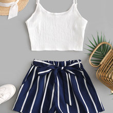 ZAFUL Crop Top and Striped Belted Shorts Set Women Two Piece