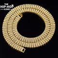 New 3 Row Ice Out White Gold Finish Crystal Hip Hop Chain 30 inch Necklace