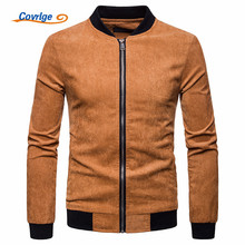 Covrlge Men Autumn Corduroy Jackets and Coats Male Causal Fashion Slim Fitted Large Size Zipper Man Clothing MWJ132