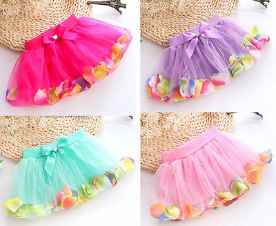 Kids Baby Girls Petals Bow Mini Skirt Princess Gown Tulle Tutu 3-8Y