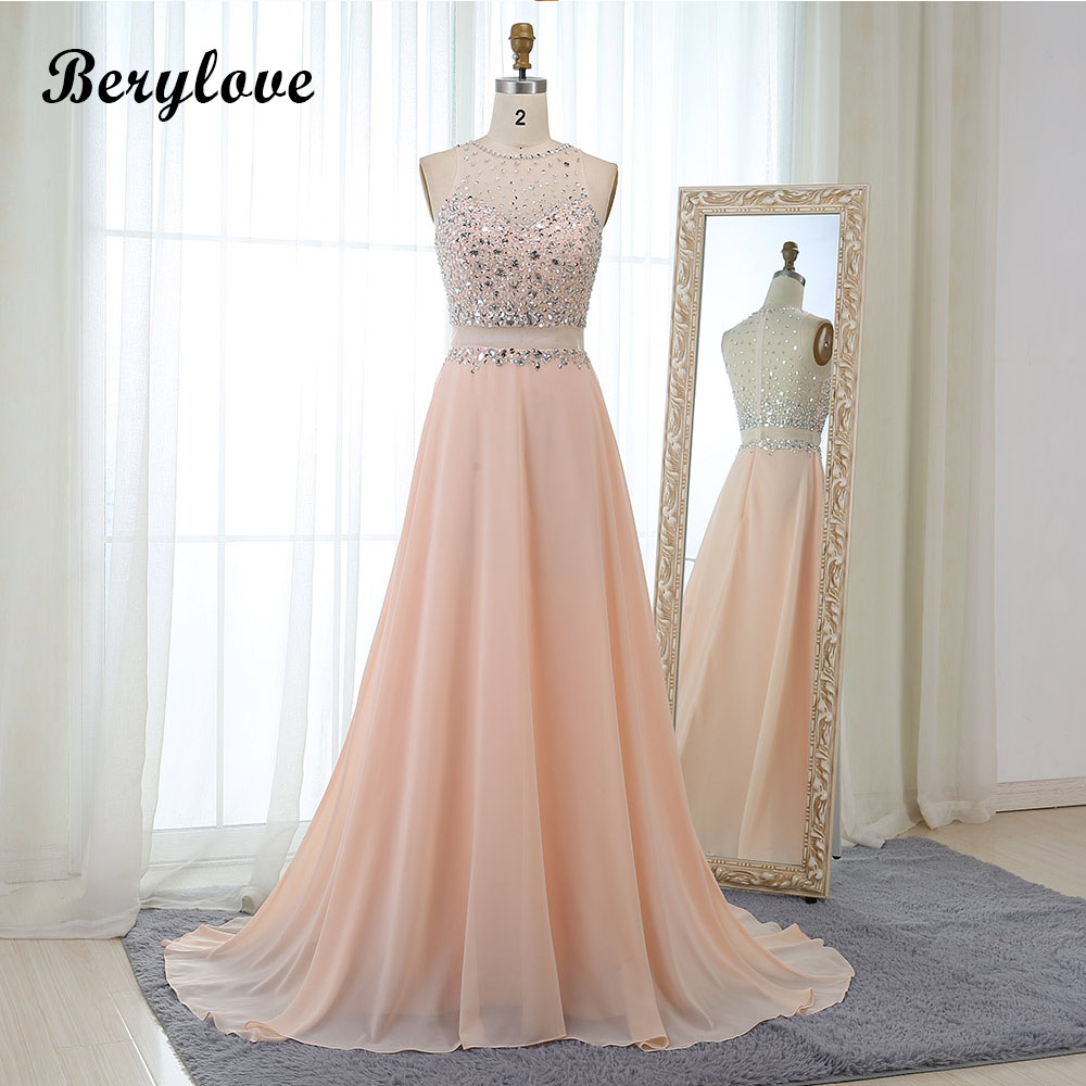 BeryLove Long Blush Prom Dresses 2018 Beaded Tulle Prom Gowns Plus Size Special Occasion Dresses Cheap Prom Party Dresses