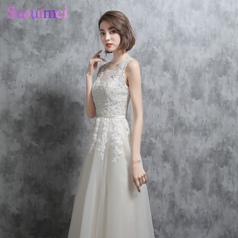 Real Photo Bridesmaid Dresses High Quality Tulle O Neck Sheer Illusion See  Through Back Ivory Long 5486a428119b