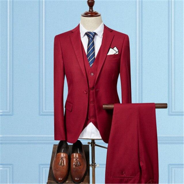 Куртка штаны жилет/Мода 2017 г. Для мужчин Бизнес костюмы 3 предмета комплекты/Для мужчин; свадебное платье костюм пиджаки пальто брюки жилет