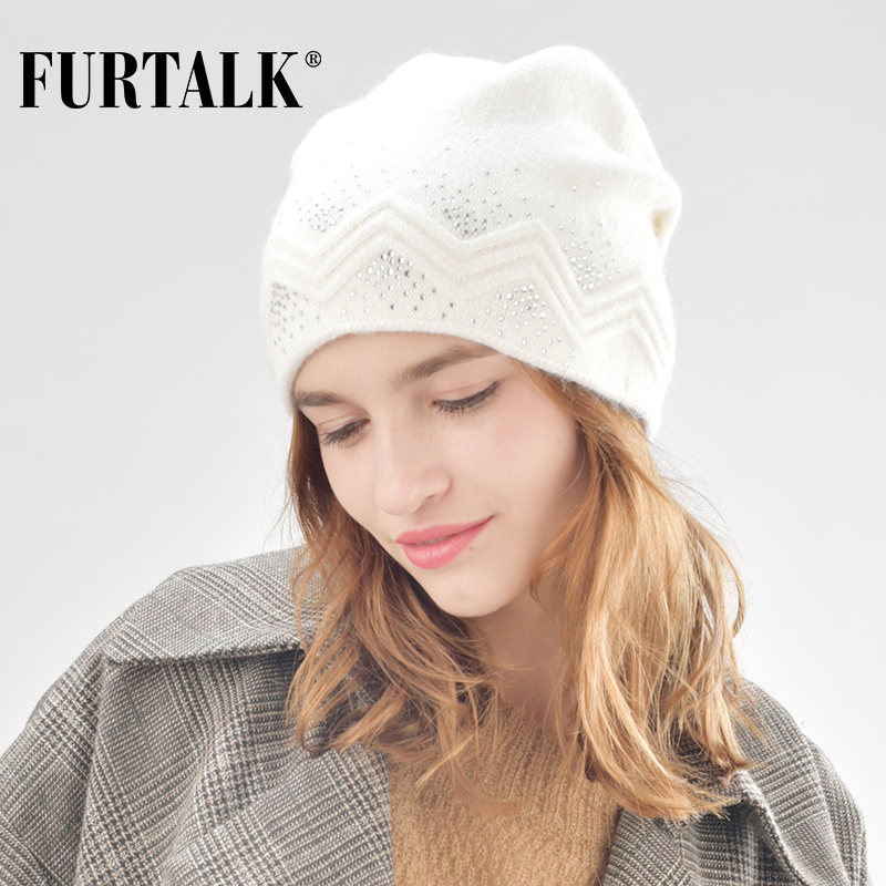 FURTALK winter wool women winter hat rabbit fur hats with double ling   skullies     beanie   for girls B008