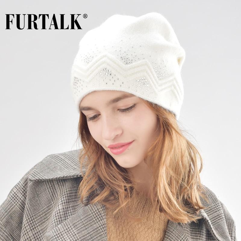 FURTALK winter wool women winter hat rabbit fur hats with double ling skullies beanie for girls B008