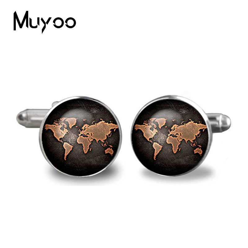 2017 Black Globe World Map Cufflinks Plated Vintage World Map Cuff Men And Women Accessories Antique Vintage Bronze