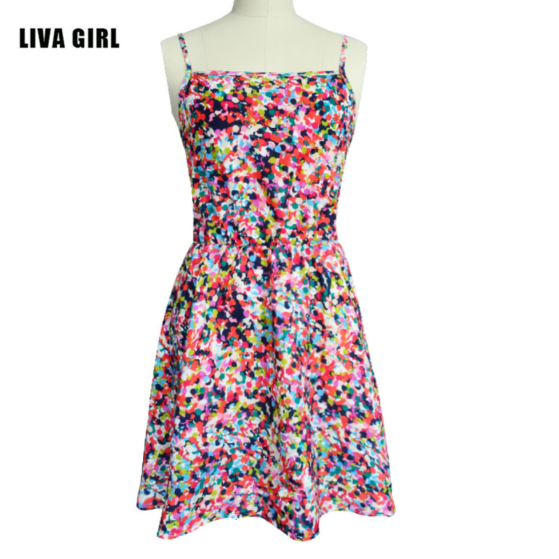 LIVA GIRL Spring Summer Women Dress Elegant Sexy Spaghetti Shirt Knitted Cotton Print Floral Casual Party Vintage Beach Dress женское платье summer dress 2015cute o women dress