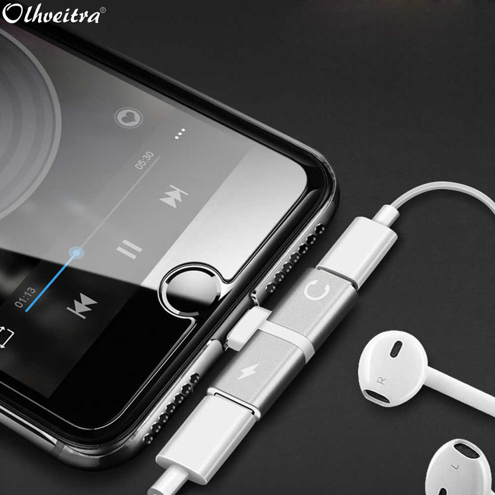 Olhveitra Audio Charging Dual Jack Adapter Splitter Cable For iphone x xr xs max 7 8 plus Earphone AUX Cable Connector Charging