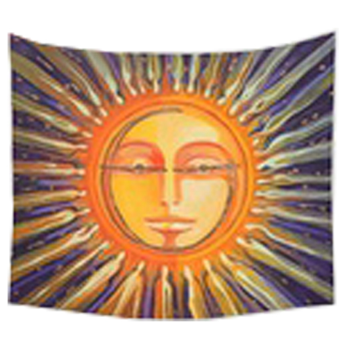 150*130cm Tapestry Home Decorative Polyester Midnight Moon and Forest Tree Pattern Beach Towel Fashion Wall Decor(Orange sun)