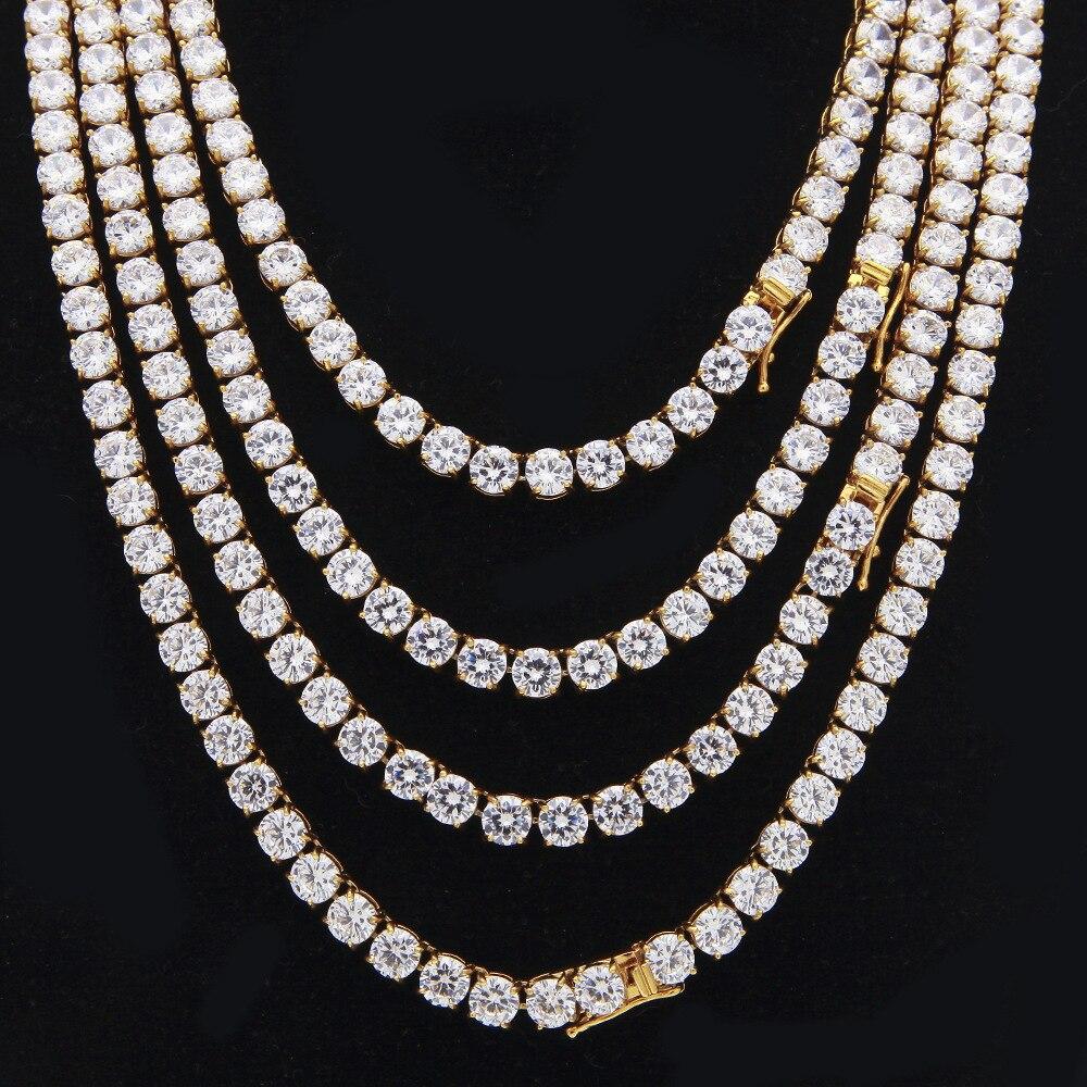 6 MM acier inoxydable glacé chaînes 1 rangée Bling rond cubique zircone CZ or argent collier pour femmes hommes Hip hop bijoux