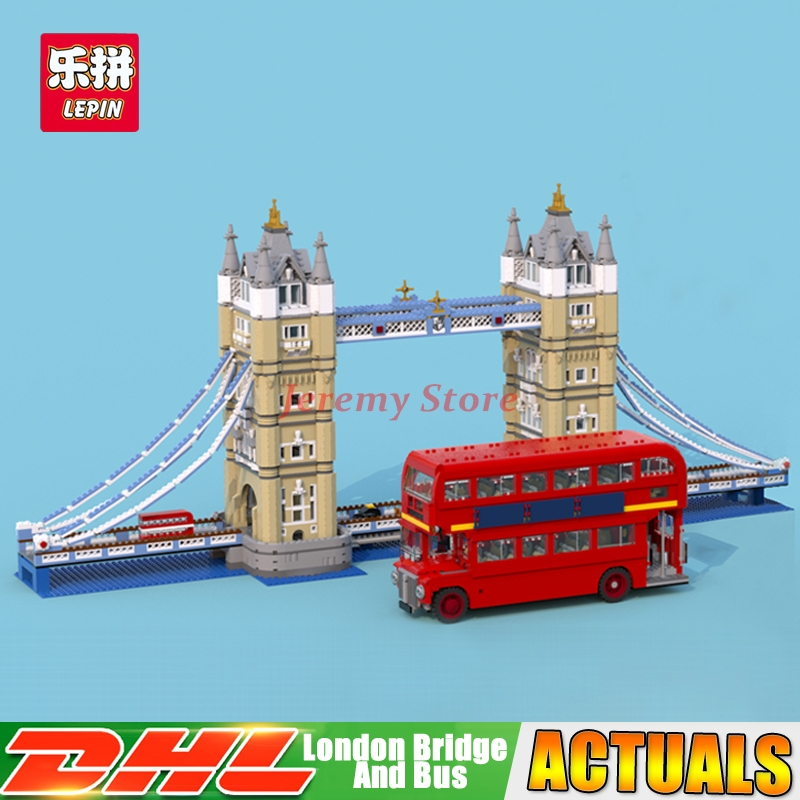 DHL LEPIN 17004 London Tower Bridge +21045 London Bus Building Block Set Bricks Model Toys For Christmas Gift Clone 10214 10258 in stock new lepin 17004 city street series london bridge model building kits assembling brick toys compatible 10214