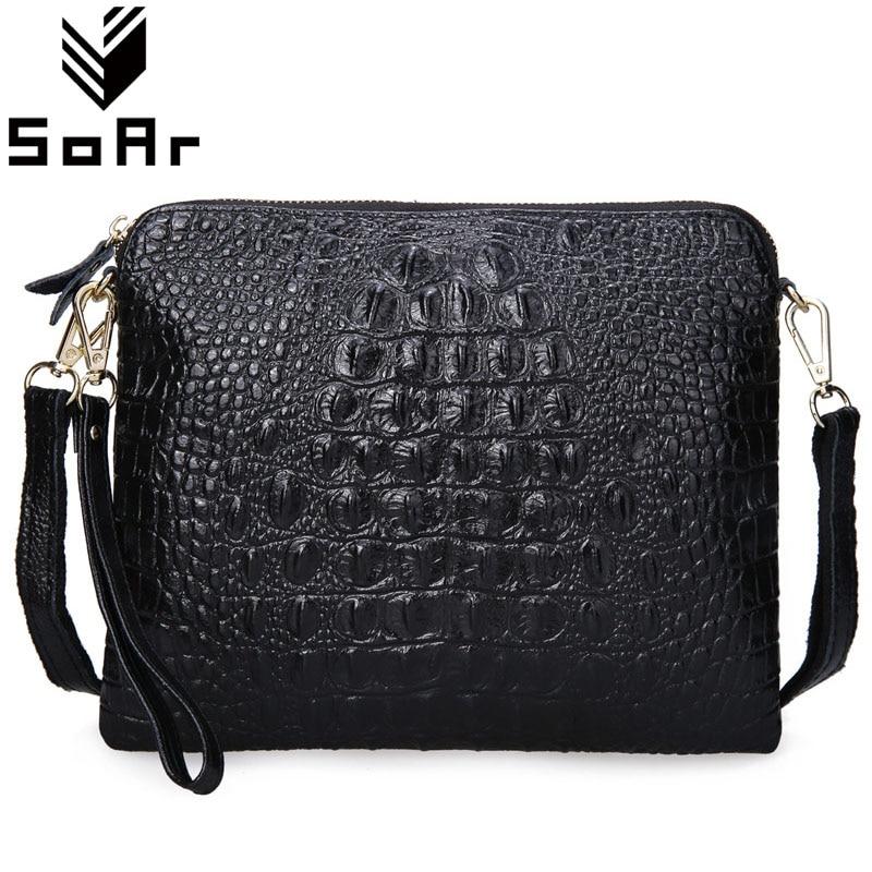 SoAr Women Messenger Bags Clutch Crossbody Bags Ladies Genuine Leather Handbag Crocodile Shoulder Bags Fashion Alligator Female