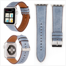 Multi-color Optional Retro Simple Solid Color for Apple Iwatch 1 2 3 Series Leather Watch Strap 38 Mm 42 and Adapter
