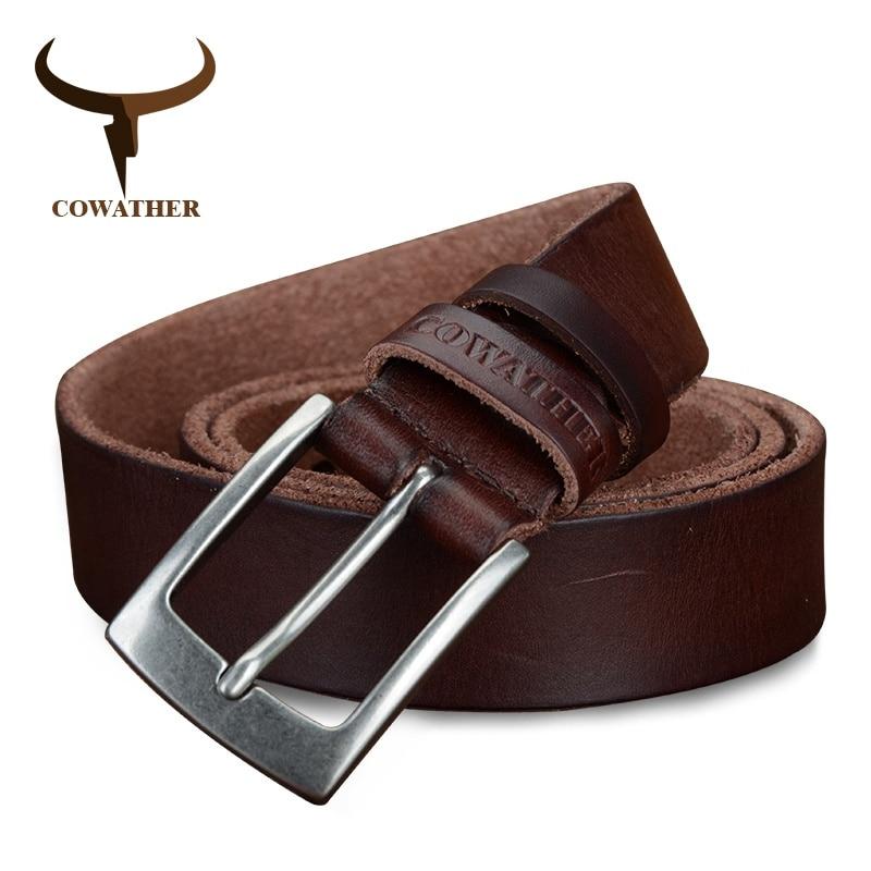 COWATHER top cow genuine leather men belts 2017 newest arrival three color hot design jeans belt