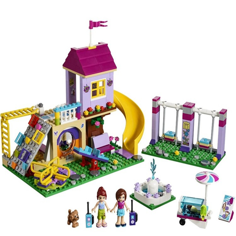 Friends the Heartlake City Playground set Legoinglys Girl Model Building Blocks kits Bricks Compatible 41325 Children Toy