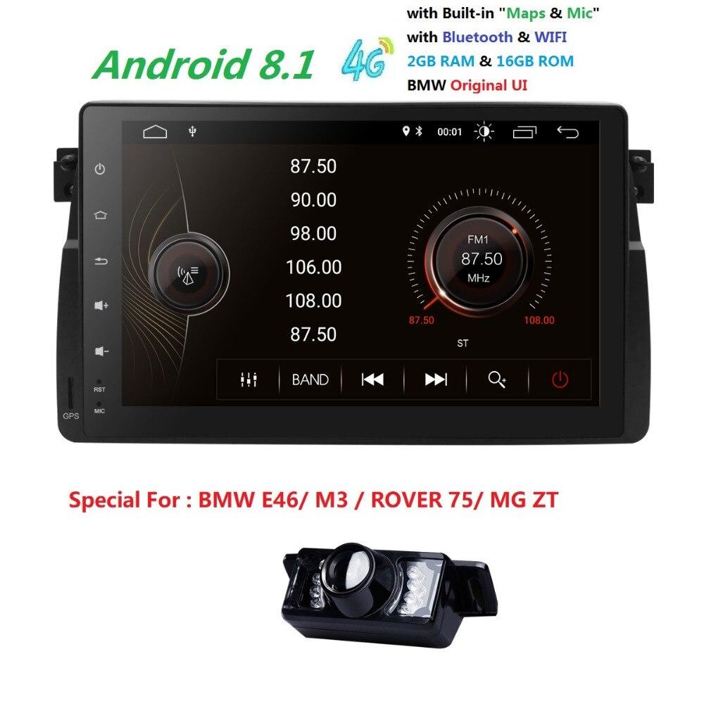 IPS Android 8.1 2G + 16G autoradio stéréo pour BMW E46 M3 Land Rover 75 série 3 Autoaudio Radio multimédia navigation DAB + CAM
