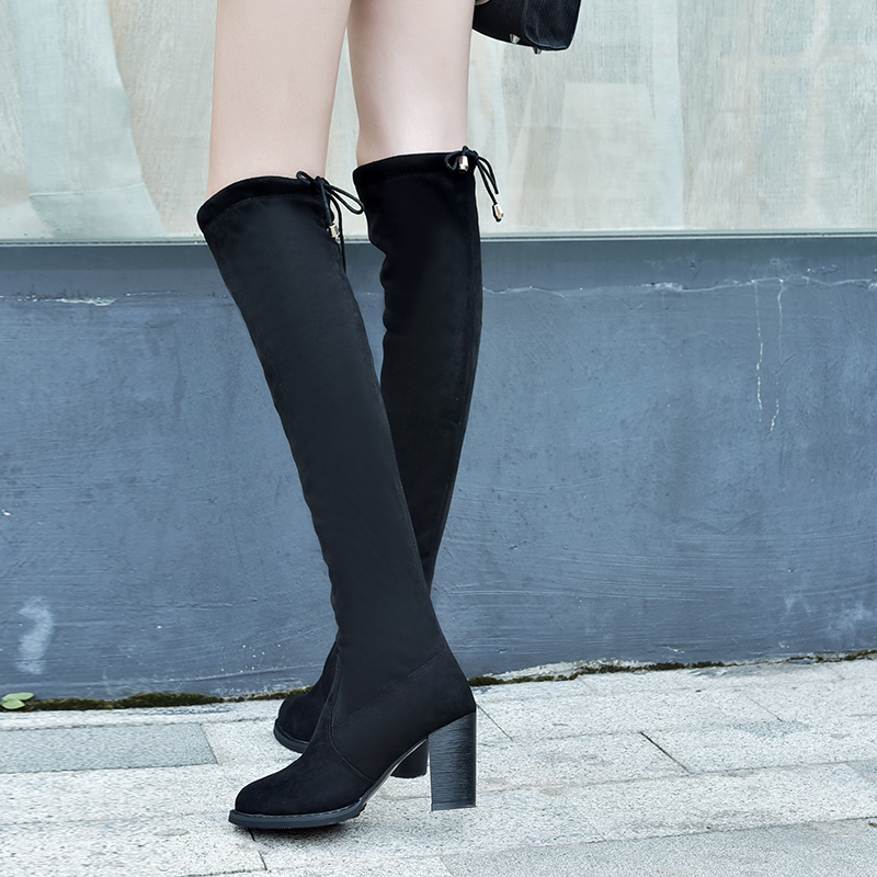 Nuevas Sexy Negro On Felpa Zapatos Mujeres Corta Plataforma Rodilla Mujer Tacones Grueso Altos Botas Slip Grapara Femenino 2018 Flock CFwIqFd