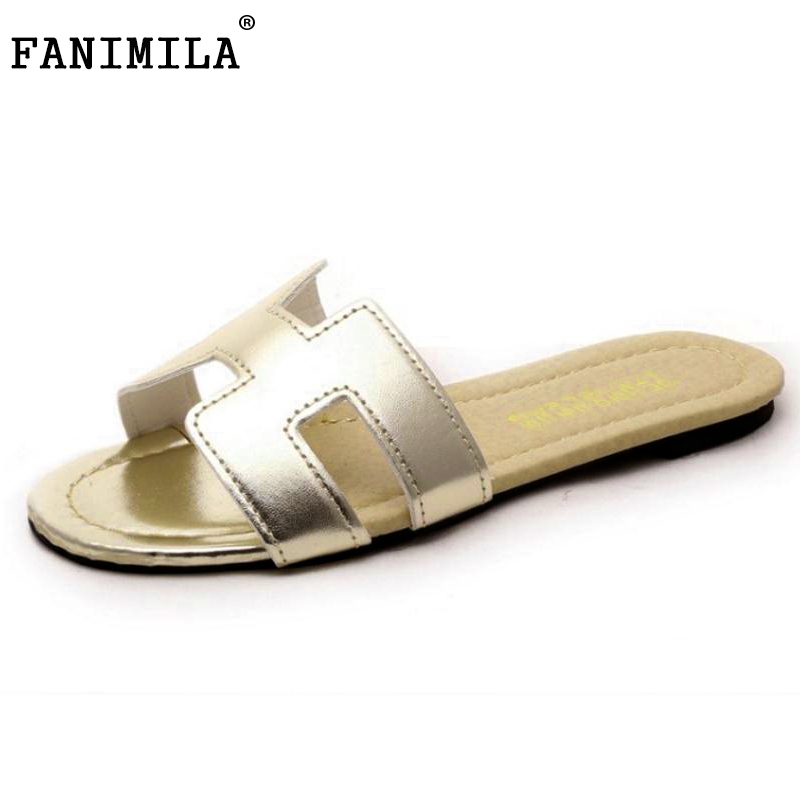 FANIMILA Lady Flat Sandals Female Shoes Women Gladiator Sandals Slippers Shoes Flip Flops Ladies Footwear Size 35-40 W0142 covoyyar 2018 fringe women sandals vintage tassel lady flip flops summer back zip flat women shoes plus size 40 wss765