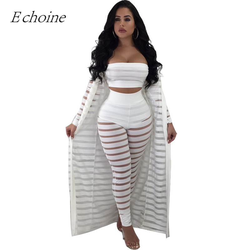 2018 Sexy 3 piezas conjunto para mujer vestido sin tirantes Top Sheer Stripe pantalones malla de Chaqueta larga conjunto Plus tamaño club trajes