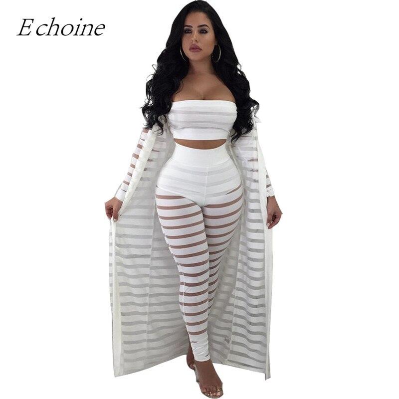 Echoine Sexy 3 pièces ensemble maille transparente Club tenues grande taille haut court pantalon manches longues Cardigan deux pièces ensemble ensemble femme