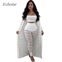 63c09501c3 Sexy Hollow Out 3 Pieces Set Womens Strapless Crop Top Sheer Stripe Mesh  Pants Long Cardigan