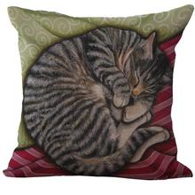 Factory Supply Cute Lazy Curled Cat Linen Kids Throw Pillow Almofadas Home Bedside Backrest Cushion