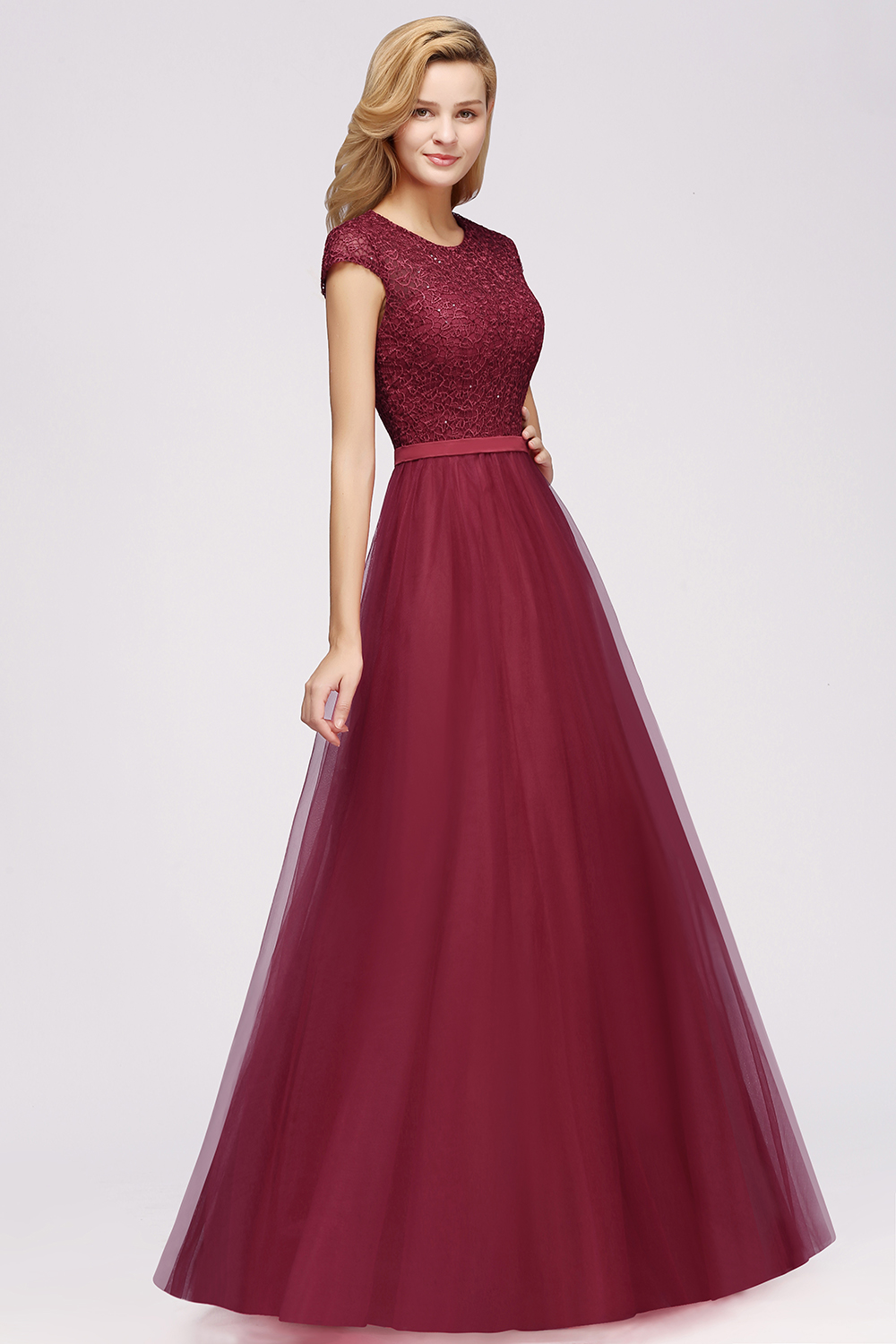Xunbei Bridesmaid Dresses 2020 Elegant Long Burgundy Tulle Wedding Party Guest Gown 2019 Cheap Sleeveless vestido madrinha