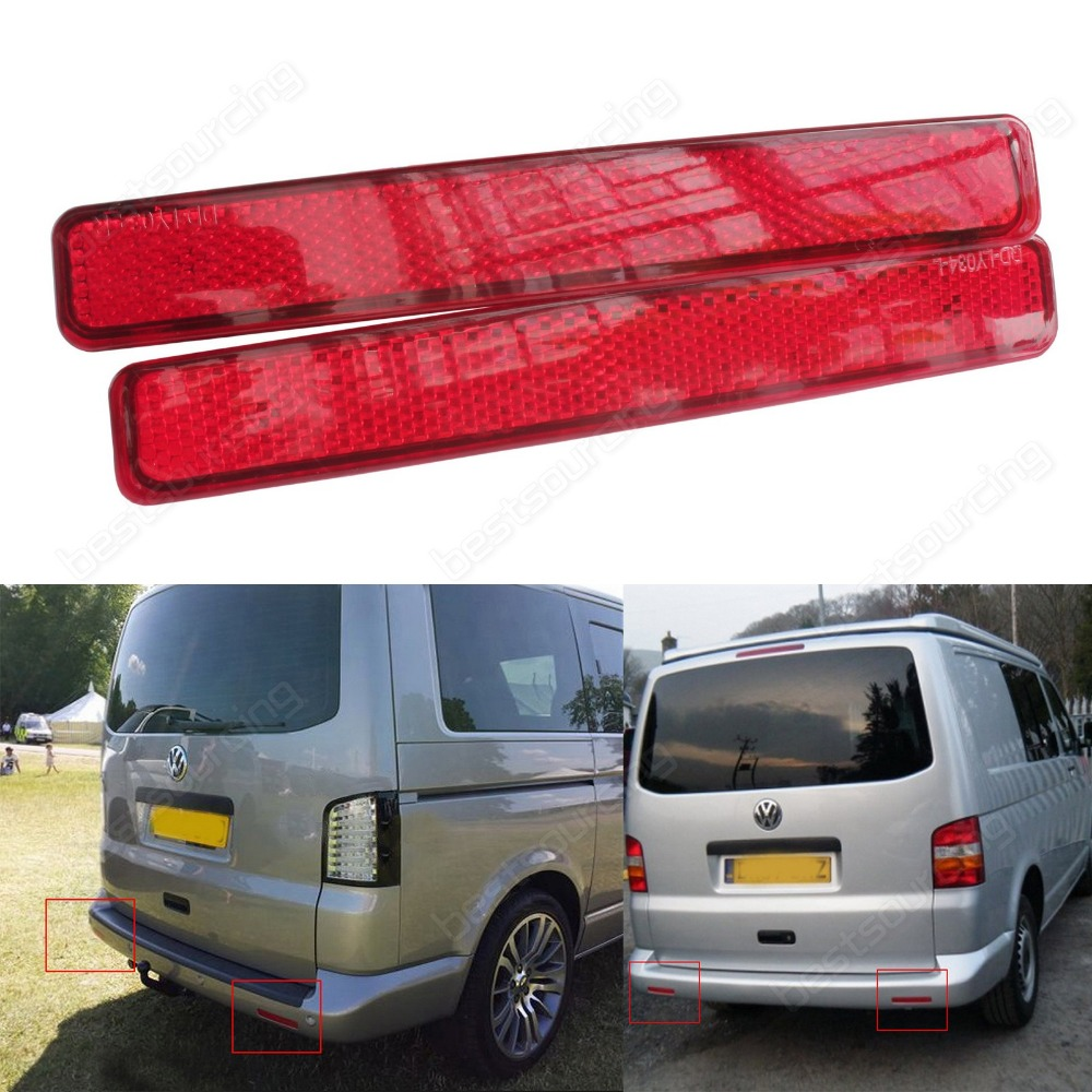 2x VW Transporter T5 Red  Rear Bumper Reflector 2003-2011 VW T5 Transporter / Caravelle / Multivan (pre-facelift)(CA244) цена