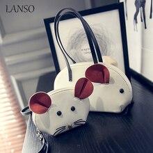 2pcs/Set 2017 New Arrival Cute Cartoon 3D Mouse Ears Composite Bag Casual Women's Handbag with Small Wallets Coin Purse Wristlet